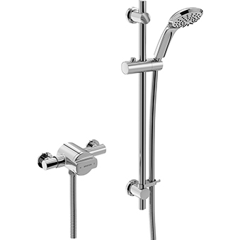 Exposed Shower with Adjustable Riser
