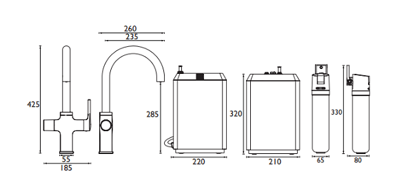 Specification drawing for the 4 in 1 Boiling Water taps