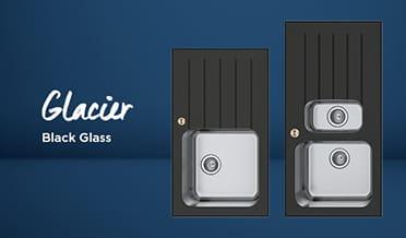 Kitchen sinks Glacier Glass (dark background)